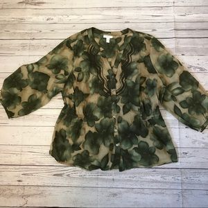 Charter Club Plus green floral print cotton blouse